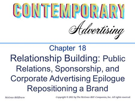 Chapter 18 Relationship Building: Public Relations, Sponsorship, and Corporate Advertising Epilogue Repositioning a Brand.