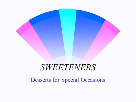SWEETENERS Desserts for Special Occasions. A CARBOHYDRATE = A CARBOHYDRATE.
