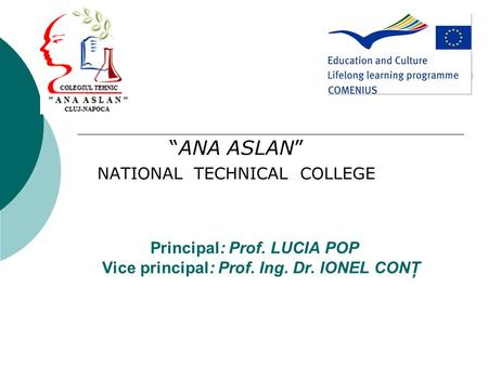 "Principal: Prof. LUCIA POP Vice principal: Prof. Ing. Dr. IONEL CONŢ ""ANA ASLAN"" NATIONAL TECHNICAL COLLEGE."