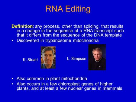 RNA Editing Definition: any process, other than splicing, that results in a change in the sequence of a RNA transcript such that it differs from the sequence.