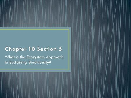 What is the Ecosystem Approach to Sustaining Biodiversity?