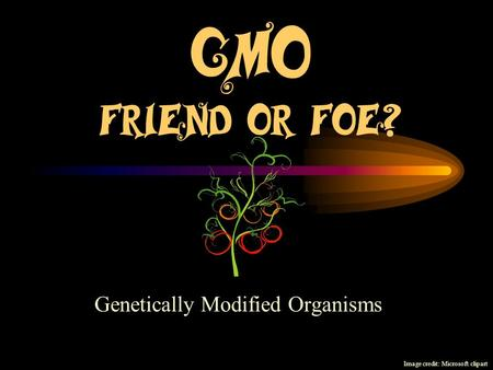 GMO Friend or Foe? Genetically Modified Organisms Image credit: Microsoft clipart.