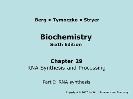Biochemistry Sixth Edition Chapter 29 RNA Synthesis and Processing Part I: RNA synthesis Copyright © 2007 by W. H. Freeman and Company Berg Tymoczko Stryer.
