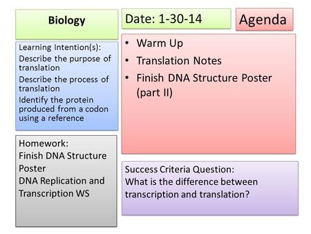 Agenda Date: Biology Warm Up Translation Notes