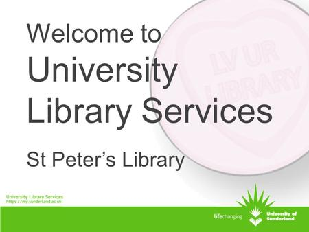 Welcome to University Library Services St Peter's Library.