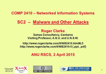 Copyright 2013-15 1 COMP 2410 – Networked Information Systems SC2 – Malware and Other Attacks Roger Clarke Xamax Consultancy, Canberra Visiting Professor,