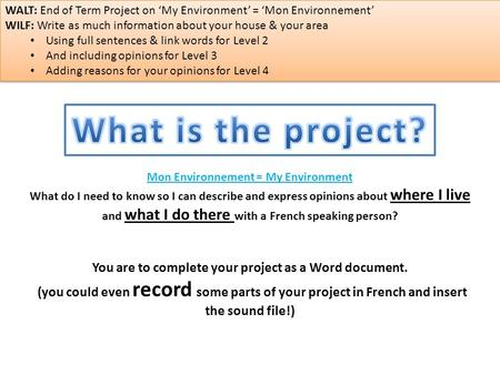 You are to complete your project as a Word document. (you could even record some parts of your project in French and insert the sound file!) Mon Environnement.