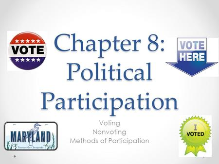 Chapter 8: Political Participation Voting Nonvoting Methods of Participation.