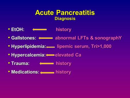 Acute Pancreatitis Diagnosis EtOH: history EtOH: history Gallstones: abnormal LFTs & sonographY Gallstones: abnormal LFTs & sonographY Hyperlipidemia: