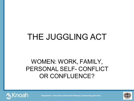 WOMEN: WORK, FAMILY, PERSONAL SELF- CONFLICT OR CONFLUENCE?