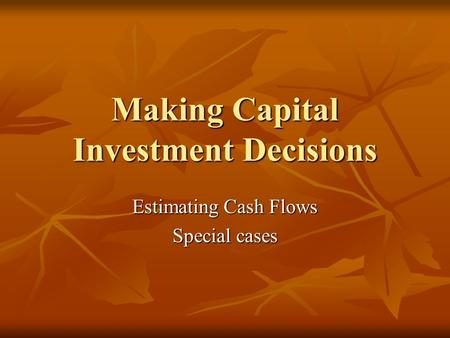 capital investment decisions the case of Case summary: some nonfinancial factors included in capital investment decisions are more important now than they were 20-25 years ago give some examples of the types of nonfinancial factors that managers would consider more important in today's capital investment decisions than they were in the.