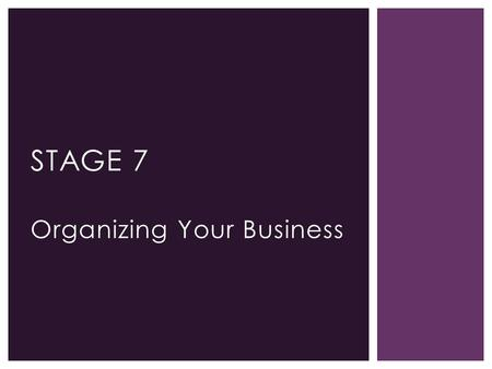 Organizing Your Business STAGE 7. ORGANIZING YOUR BUSINESS 100 200 300500 400 600 700 Sales Revenue (thousands of dollars) 100 200 300 400 500 600 700.