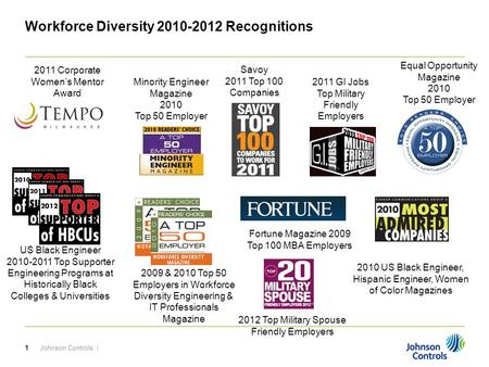 Johnson Controls |1 Workforce Diversity 2010-2012 Recognitions Fortune Magazine 2009 Top 100 MBA Employers 2011 Corporate Women's Mentor Award Savoy 2011.