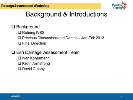 Damage Assessment Workshop Background & Introductions  Background  Retiring IVSS  Previous Discussions and Demos – Jan-Feb 2013  Final Direction 