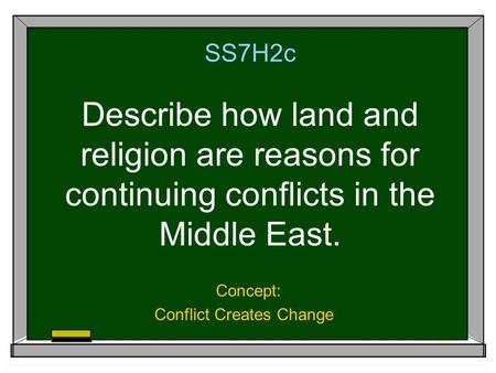 SS7H2c Describe how land and religion are reasons for continuing conflicts in the Middle East. Concept: Conflict Creates Change.