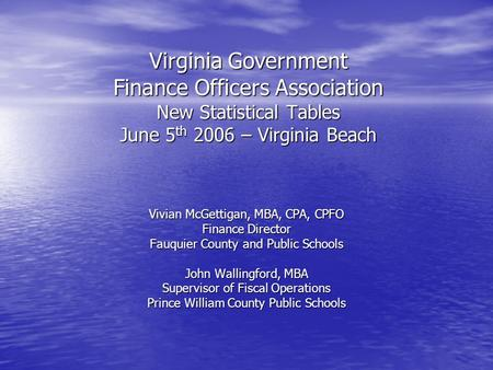 Virginia Government Finance Officers Association New Statistical Tables June 5 th 2006 – Virginia Beach Vivian McGettigan, MBA, CPA, CPFO Finance Director.