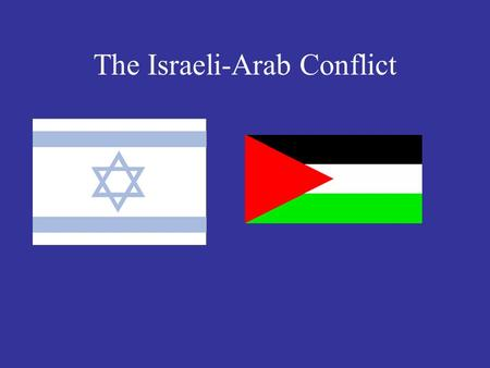 The Israeli-Arab Conflict Background Both sides have historical roots in Palestine Zionists- people that favored a Jewish homeland in Palestine. Began.