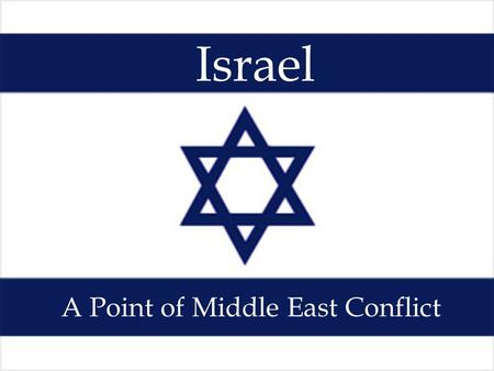Israel A Point of Middle East Conflict. Background History of Palestine The area that is Israel today used to be called Palestine. The Jews view Israel.