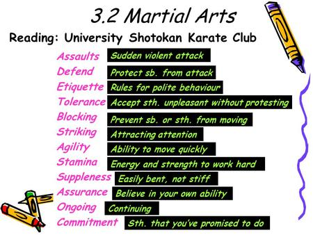 Reading: University Shotokan Karate Club Assaults Defend Etiquette Tolerance Blocking Striking Agility Stamina Suppleness Assurance Ongoing Commitment.