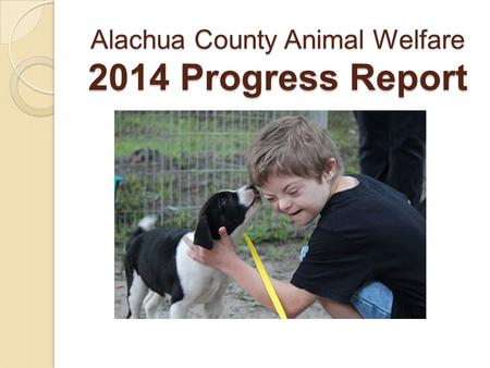 Alachua County Animal Welfare 2014 Progress Report.