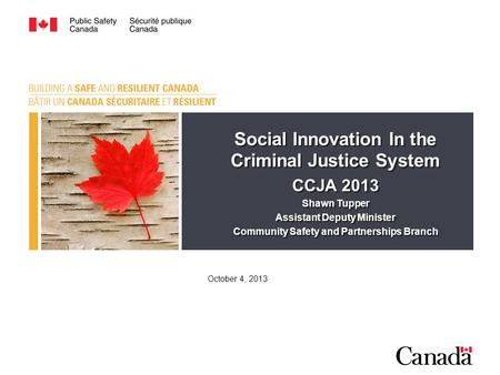Social Innovation In the Criminal Justice System CCJA 2013 Shawn Tupper Assistant Deputy Minister Community Safety and Partnerships Branch Social Innovation.