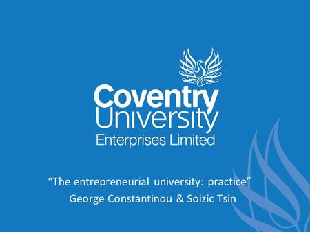 """The entrepreneurial university: practice"""