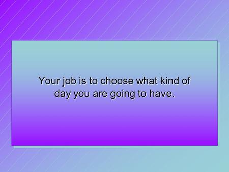 Your job is to choose what kind of day you are going to have.