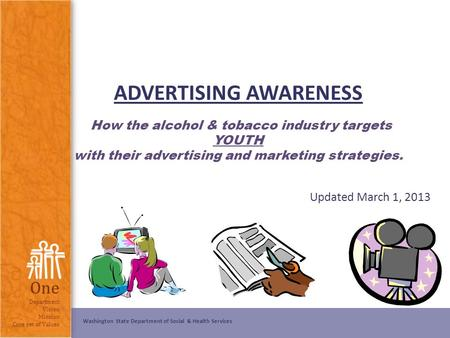 ADVERTISING AWARENESS How the alcohol & tobacco industry targets YOUTH with their advertising and marketing strategies. Updated March 1, 2013 Note.