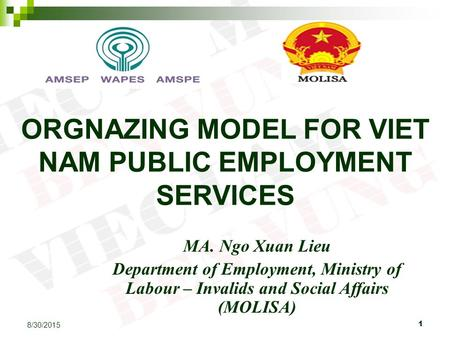 1 8/30/2015 ORGNAZING MODEL FOR VIET NAM PUBLIC EMPLOYMENT SERVICES MA. Ngo Xuan Lieu Department of Employment, Ministry of Labour – Invalids and Social.
