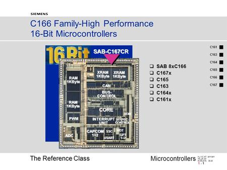 C161 C166 C163 C164 C165 C167 HL MC AT, lehmann 16x_all.ppt 30.08.2015, 08:46 - 1 Microcontrollers C166 <strong>Family</strong>-High Performance 16-Bit Microcontrollers.
