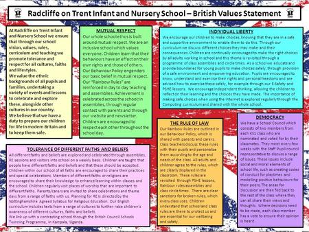 Radcliffe on Trent Infant and Nursery School – British Values Statement At Radcliffe on Trent Infant and Nursery School we ensure that through our school.