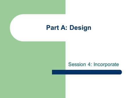 Part A: Design Session 4: Incorporate. Objectives: Identify one way in which new companies can raise cash to pay start-up expenses Incorporate new friendship.