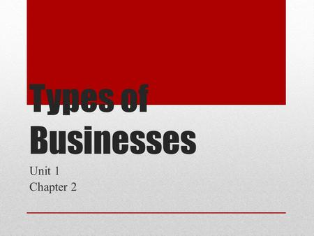 Types of Businesses Unit 1 Chapter 2.