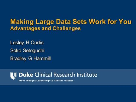 Making Large Data Sets Work for You Advantages and Challenges Lesley H Curtis Soko Setoguchi Bradley G Hammill.