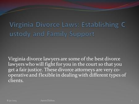 Virginia divorce lawyers are some of the best divorce lawyers who will fight for you in the court so that you get a fair justice. These divorce attorneys.
