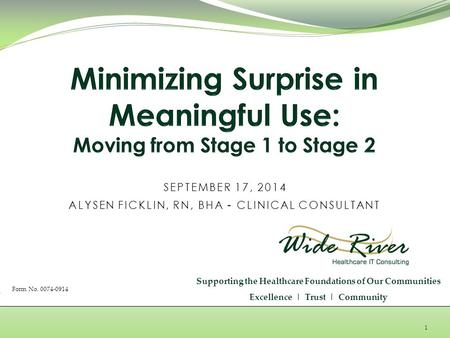 1 SEPTEMBER 17, 2014 ALYSEN FICKLIN, RN, BHA - CLINICAL CONSULTANT Supporting the Healthcare Foundations of Our Communities Excellence | Trust | Community.