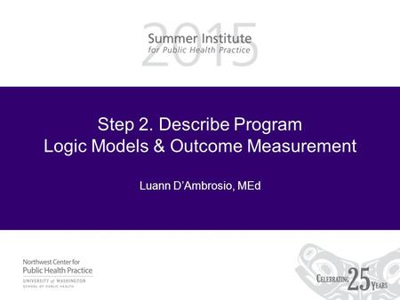 Step 2. Describe Program Logic Models & Outcome Measurement Luann D'Ambrosio, MEd.