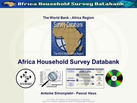World Bank, Africa Region, Africa Household Survey Databank  -  The World Bank - Africa.