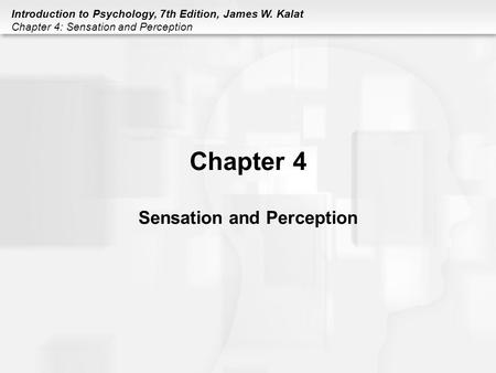Introduction to Psychology, 7th Edition, James W. Kalat Chapter 4: Sensation and Perception Chapter 4 Sensation and Perception.