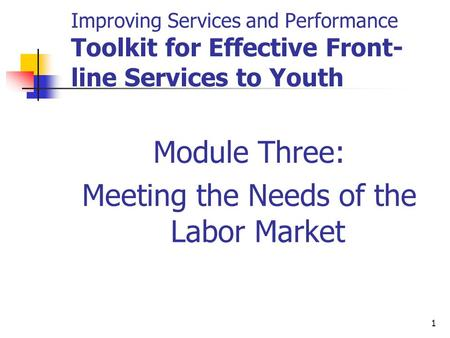 1 Improving Services and Performance Toolkit for Effective Front- line Services to Youth Module Three: Meeting the Needs of the Labor Market.