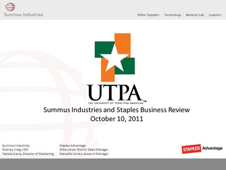 Summus Industries and Staples Business Review October 10, 2011 Summus Industries Staples Advantage Rodney Craig, CEO Mike Carter District Sales Manager.