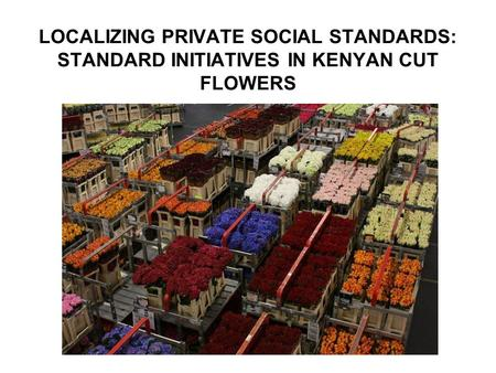 LOCALIZING PRIVATE SOCIAL STANDARDS: STANDARD INITIATIVES IN KENYAN CUT FLOWERS.