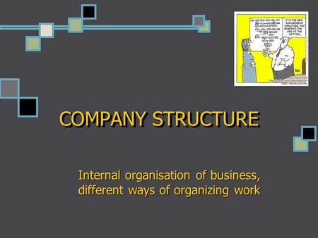 COMPANY STRUCTURE Internal organisation of business, different ways of organizing work.