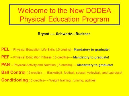 Welcome to the New DODEA Physical Education Program PEL – Physical Education Life Skills (.5 credits)– Mandatory to graduate! PEF – Physical Education.