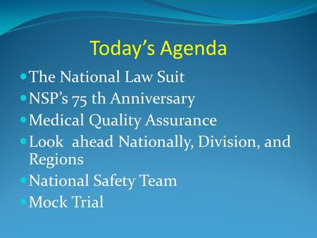 Today's Agenda The National Law Suit NSP's 75 th Anniversary Medical Quality Assurance Look ahead Nationally, Division, and Regions National Safety Team.