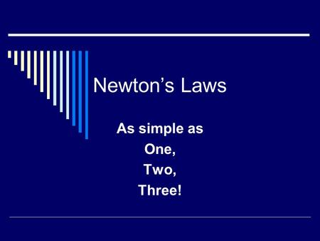 Newton's Laws As simple as One, Two, Three!. Inertia Newton's First Law is often called the Law of Inertia. But what is inertia? Inertia is the natural.