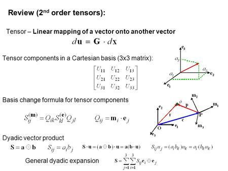 Review (2 nd order tensors): Tensor – Linear mapping of a vector onto another vector Tensor components in a Cartesian basis (3x3 matrix): Basis change.