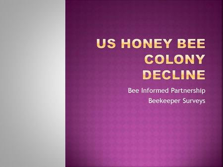 Bee Informed Partnership Beekeeper Surveys. 1945 4.5 MILLION COLONIES 2015 2.7 MILLION COLONIES.