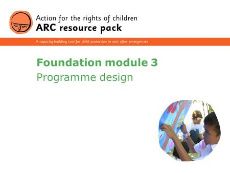 1 Foundation module 3 Programme design. 2 Section 1 Understand childhoods and child protection issues Section 2 Know the law and child rights Section.