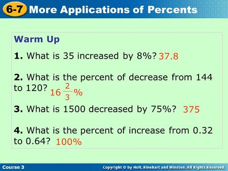 2. What is the percent of decrease from 144 to 120?